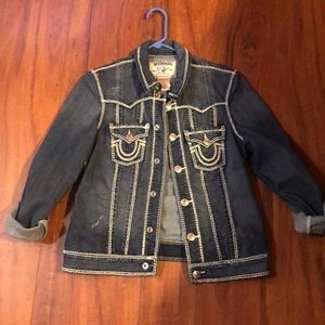 True Religion trucker denim jean jacket ladies L